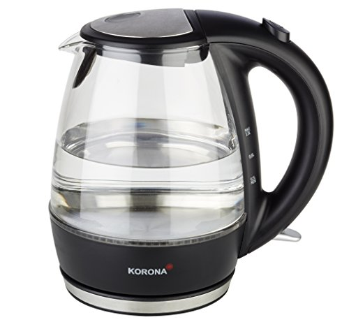 Korona–Hervidor de agua de cristal 20607I 1,0litros I LED Iluminación I 360° I 2200W I de acero inoxidable negro