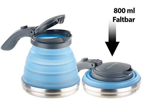 Rosenstein & Söhne Faltbarer Wasserkessel: Faltbarer Silikon-Camping-Wasserkessel mit Edelstahlboden, 800 ml (Camping Wasserkocher faltbar)