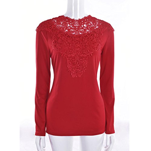 Bonjouree Chemisier Femme Manches Longues Top Blouse Chic Col Rond Rouge