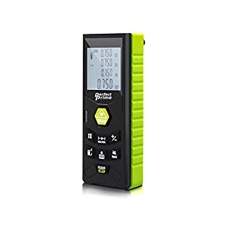 PerfectPrime RF0370, Laser Distance Digital Range Finder Meter Diastimeter Measuring Device with Clip/Level Bubble 70m, Pythagorean Mode/Volume/Area Calculation, LCD Backlight/IP54 Water/Dust Proof