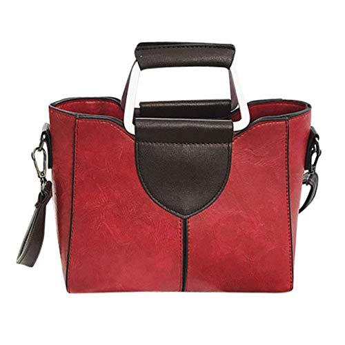 VADFLOD Damen Leder Elegante Umhängetasche Doppel D-Ring Griff Handtasche Umhängetaschen Tote, Rot (Tote-doppel-griff Leder)