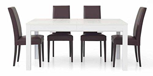 InHouse srls Table Extensible Blanc Pore Ouvert avec 4 rallonges DE 43 cm, Style Moderne, en MDF laminé et Structure en Acier - Dim. 180 x 90 x 75