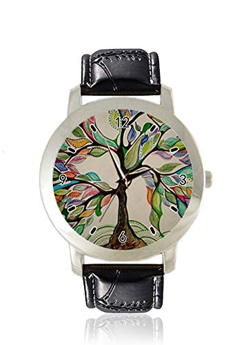 Buntes Bleistift-Skizzen-Stil, Baum des Lebens, Damen-Armbanduhr, dünn, minimalistisch, modisch, wasserdicht, analog, Lederarmband, Geschenk -