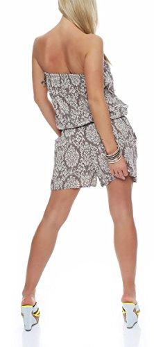 malito court Jumpsuit Orient Look Romper Body Salopette 8060A Femme Taille Unique fango