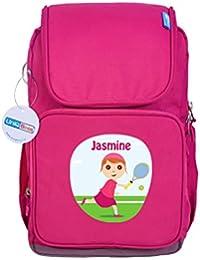 UniQBees Personalised School Bag With Name (Active Kids Medium School Backpack-Pink-Tennis 5)