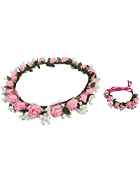 Loops n knots Pinky Pink & White Floral Tiara/Crown With Wrist Band/Puff Wrap For Girls & Women-Combo Pack