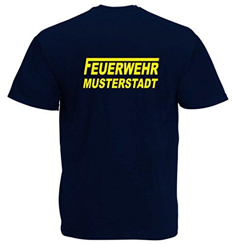 T-Shirt FEUERWEHR beidseitig bedruckt mit Wunschort Navy Gelb