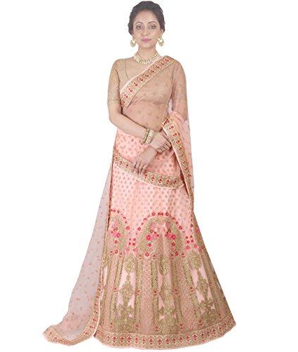 Indian Ethnicwear Bollywood Pakistani Wedding Peach A-Line Lehenga Semi-stitched-DIVISL027