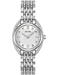 Bulova Ladies Curv Diamond Women's Quartz Watch with White Dial Analogue Display and Silver Stainless Steel Bracelet 96R212