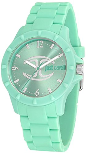 Just Cavalli Women's Quartz Watch with Green Dial Analogue Display and Green Rubber Bracelet R7253599506