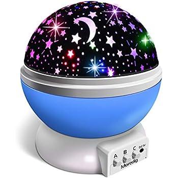 No/ël White Cadeau Danniversaire Projecteur Lampe Enfant 5 Films Magie Veilleuse Enfant 360/° Rotation 6 combinaisons /à gradation lampe de projection pour Les Enfants Anniversaire