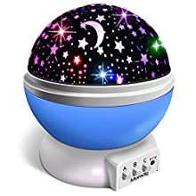 Moredig Star Night Light Projector, LED Projection Lamp 360 Degree Rotation Star Moon Sky Projector with Multi-Color Lights, Gifts for Baby, Child, Birthday Gift, Christmas - Blue