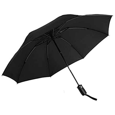 Black Windproof Umbrella, NATUCE Automatic Open Close Folding Portable Lightweight Travel Umbrella With Lifetime