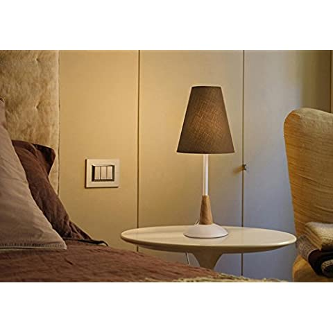 paño caliente de la lámpara moderna creativa mesita de noche junto a la cama de madera minimalista dormitorio ( Color : Coffee Lampshade