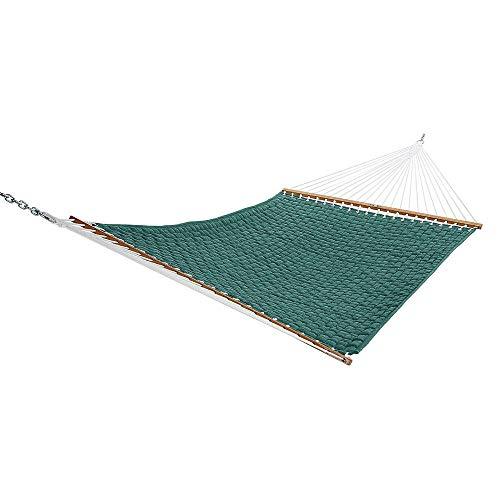 The Garden Hammocks® Bequemer Schlaf-Hängekorb, gewebt, gesteppt, Doppel-Hängematte, Grün (Ständer Nicht im Lieferumfang enthalten) (Patio-design-software Deck Und)