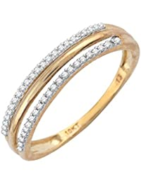 Pave Prive 9ct Yellow Gold with White Diamonds 2 Line Ring