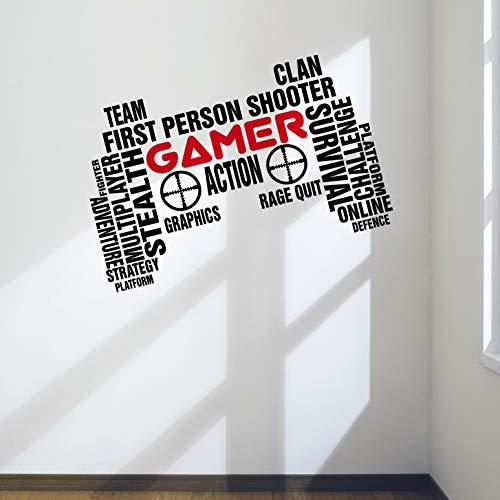 Pro Gamer Art Wand Aufkleber Gaming Controller Aufkleber für Spiele Schlafzimmer Man Cave, Large: 90cm x 57cm