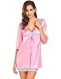 Ekouaer Women Sexy Satin Robe Short Sleeve Nightdwear Lace Silky Open in  Front Tie Sleepwear S a0ea907c3
