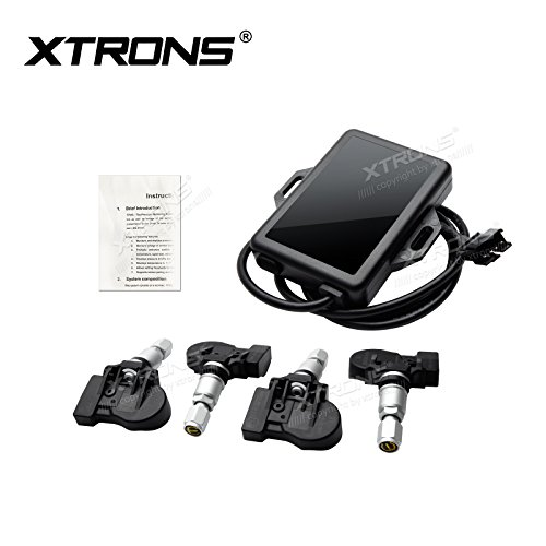 Xtrons Auto TPMS Reifendruckkontrollsystem Tire Pressure Monitoring System Reifendruckkontrolle mit 4 Externe Sensoren Reifendruck Voltage Temperatur Anzeig Android Geräte (Monitoring-sensor Tire Pressure)