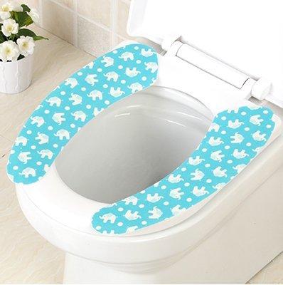 XXAICW El inodoro cojín elástico no-marca adhesiva impermeable universal son un conjunto de coordenadas repetidos lavados lavabos, wc-inodoros juego de pequeño elefante azul
