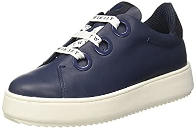 Twin Set CS7PH3, Sneaker a Collo Basso Donna, (Blu Nautico), 40 EU