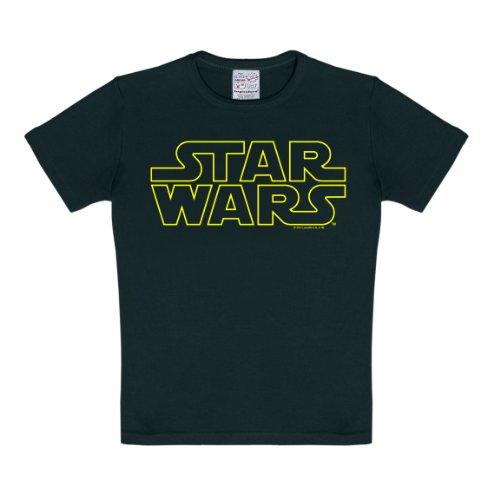Logoshirt Star Wars Schriftzug - Star Wars Logo T-Shirt Kinder Jungen - schwarz - Lizenziertes Originaldesign, Größe 104/116, 4-6 Jahre (Shirt Star 6 Jungen, Für Wars Größe)