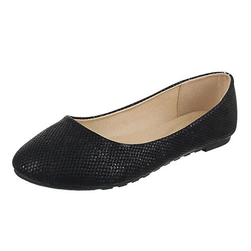 Damen Schuhe, JA10127, BALLERINAS PUMPS Schwarz