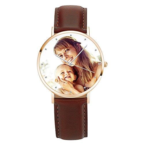 Soufeel Personalisierte Foto Armbanduhr für Damen Herren Analog Braun lederarmband Klassisch Zifferblat Wasserdicht