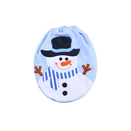 OULII Décoration de Noël de couverture de siège de toilette de bonhomme de neige de Noël pour la salle de bains - bleu
