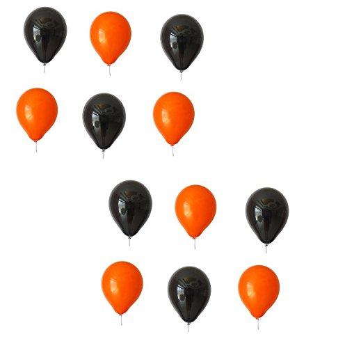 lons je 25 Schwarz und Orange - ca. Ø 28cm ohne Schadstoffe aus Europa 50 Stück - Ballons als Deko, Party, Fest, Halloween, Herbst - Heliumgeeignet - Top Qualität - twist4® (Schwarz Und Weiß Halloween)