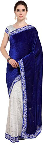 Texstile Women's Velvet Net Saree (Blue_Velevet_Saree_Blue_Free Size)