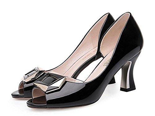 pengweiSandales dames printemps et talons hauts d'¨¦t¨¦ ¨¦pais avec des chaussures de t¨ºte de poisson de mode Black