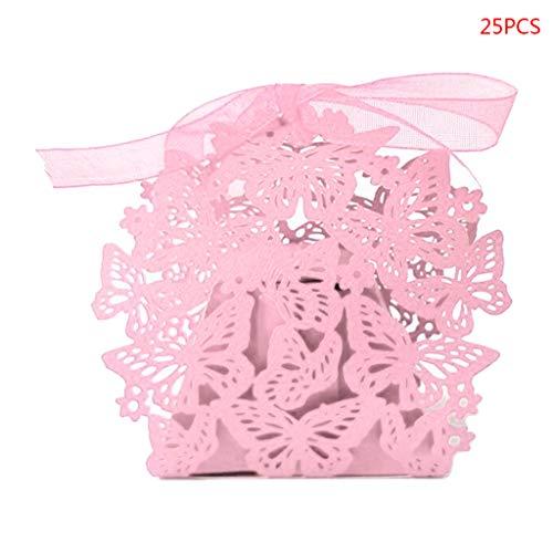 Jiay - 25 scatole di caramelle a forma di farfalla, per fai da te, matrimonio, bomboniere, in carta perlata morbida rosa