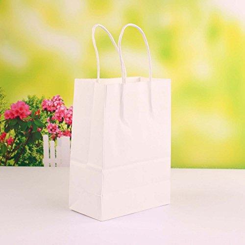 50 Pezzi Sacchetto Borsa Carta Kraft Wedding Bag Naturale Misura Media 27*21*11 (BIANCO)