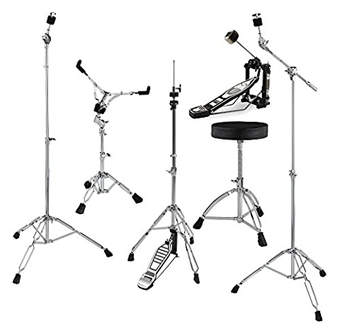 XDrum HP-SSP5S Hardware Pack 6-teilig (Galgenbeckenständer, gerader Beckenständer, Snare Drum-Ständer, Single Fußmaschine, HiHat-Maschine, Drumhocker mit (Cymbal Stand Pack)