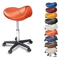 Sgabello Saddle - imbottito - molti colori - Ruotare di 360 gradi - Medical Sgabello (Arancione) - Arancione Saddle