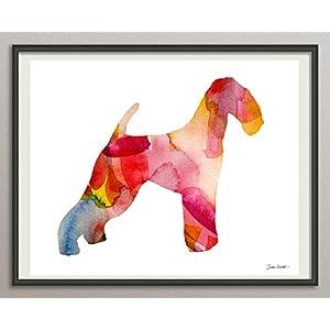 airedale terrier Rasse Hunde Hunderasse Fine Art Print Aquarell Silhouette Profil Poster Kunstdruck Plakat modern ungerahmt DIN A 4 Deko Wand Bild