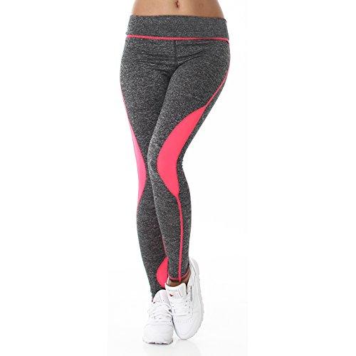 Jela London Damen Fitness Leggings Neonpink