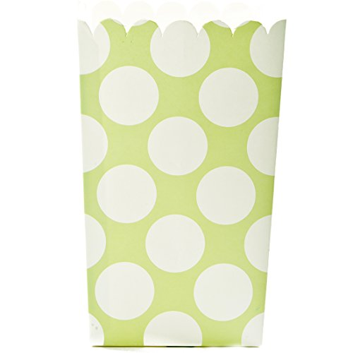 Simply Baked Large Paper Popcorn Box, Lime & White Dot, Disposable and Sturdy, 6-Pack