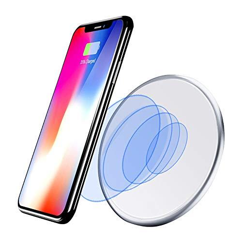 ZUKN 10W Qi Schnelle kabellose Ladestation Schnelle Tischladestation für iPhone, Huawei, Xiaomi, HTC, Sony und andere Smartphone-Ladegeräte,White (Boost Für Htc-handys Mobile)