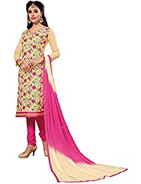 Nivah Fashion Women's Ltest Cotton Embroidery Work With Stoning Salwar Sui (Free Size_Semi-Stich) G12(Beige)