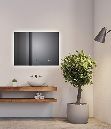 SOGOO Miroir Intelligent Miroir HD L80 x H60cm 18W Miroir Salle de Bain LED Miroir Lumineux Salle de Bain LED Miroir Salle de Bain avec Éclairage Intégré LED Blanc Froid 6500K (Fonction Anti Buée)