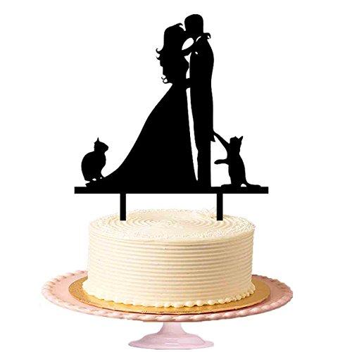 ie Hochzeit - Küssendes Paar mit zwei Katzen, Tortenaufsatz aus Acryl in Schwarz (Happy Birthday Iron Man)