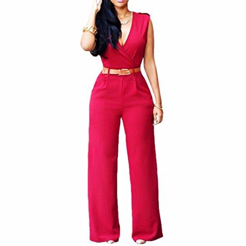 Pantalon Long Cru Plonger Sans Manches Col V Jambe Large Combinaison Barboteuses Avec Ceinture Rouge