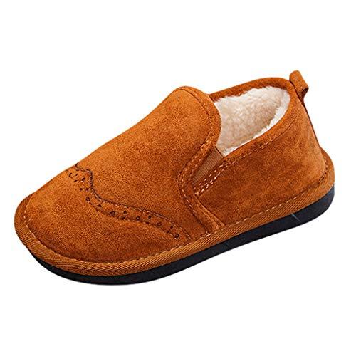 HDUFGJ Booties Mädchen Jungen Winterschuhe Plus Samt Warm Flache Sneaker Stiefel kurz Boots Plus Samt warme wasserfeste Chelsea Boots Stiefeletten26 EU(Braun)