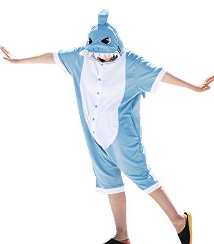 Einfache Kostüm Seepferdchen - wotogold Herren Sommertier Shark Pyjamas Cosplay Kostüme Medium summer Blue