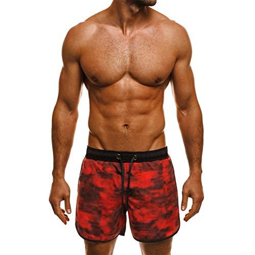 Badehosen/Dorical Herren Tarnaufdruck Kurze Hose Atmungsaktive Badeshorts Schwimmhose Surfshorts Badehose Beachshorts Trainingshose für Männer Schnelltrocknend(Rot,Small)