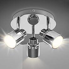 3 Way Round Plate Led Ceiling Spotlight for Bathroom, Kitchen (3000K Warm White). Waterproof, Polished Chrome Led Bathroom Light Ceiling. (3X3W GU10 Bulbs Included)