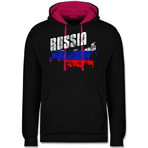 Fußball-WM 2018 - Russland - Russia Umriss Vintage - Kontrast Hoodie Schwarz/Fuchsia