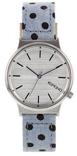 Komono Unisex reloj con mecanismo de cuarzo plateado esfera analógica y  azul correa de piel kom cf829b06fde